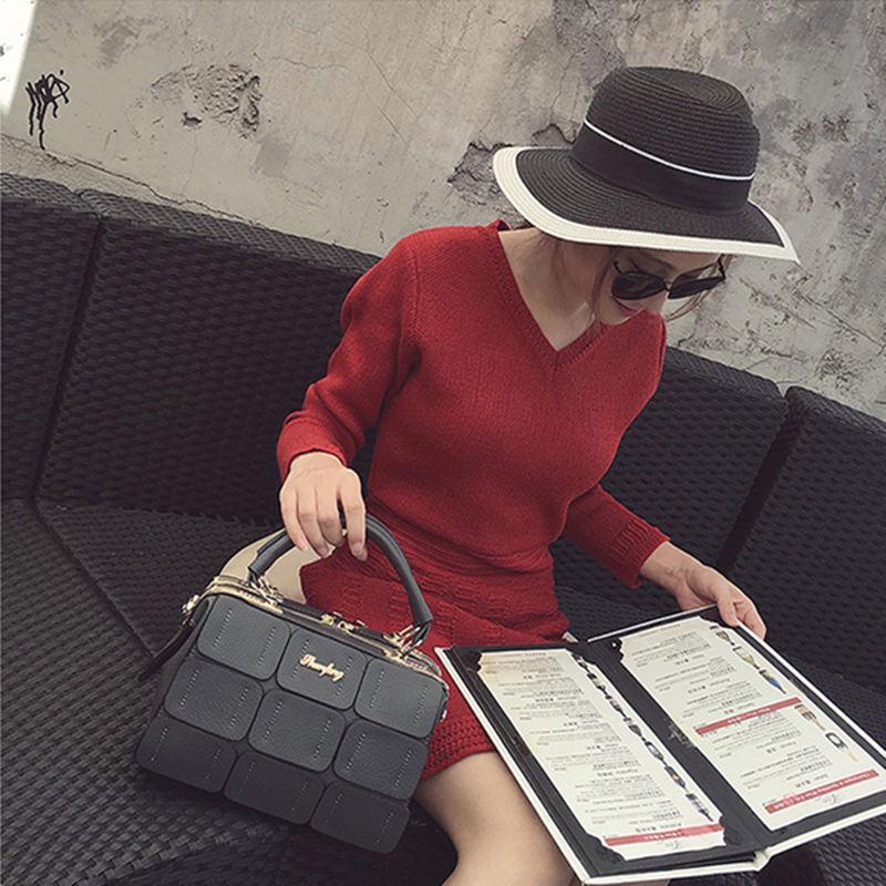 ФОТО New fashion female Messenger bag  package Korean casual simple wild black woven stitching box handbag totes business style