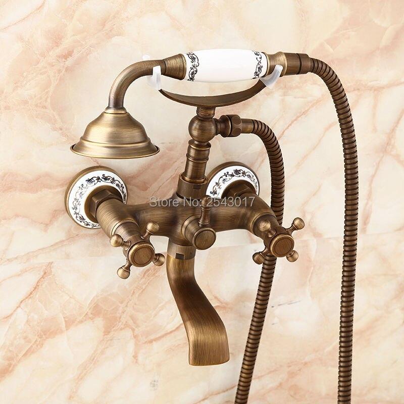 Classic Shower Faucet Antique Brass Double Handle Bathtub Shower Set ...