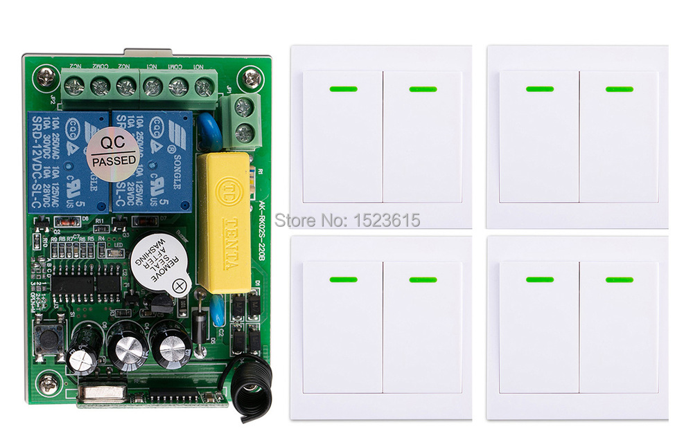 New AC220V 2CH Wireless Remote Control Switch System Receiver + 4*Wall Panel Remote Transmitter Sticky Remote Smart Home Switch ac 220 v 1ch wireless remote control switch system receiver wall panel remote transmitter sticky remote smart home switch