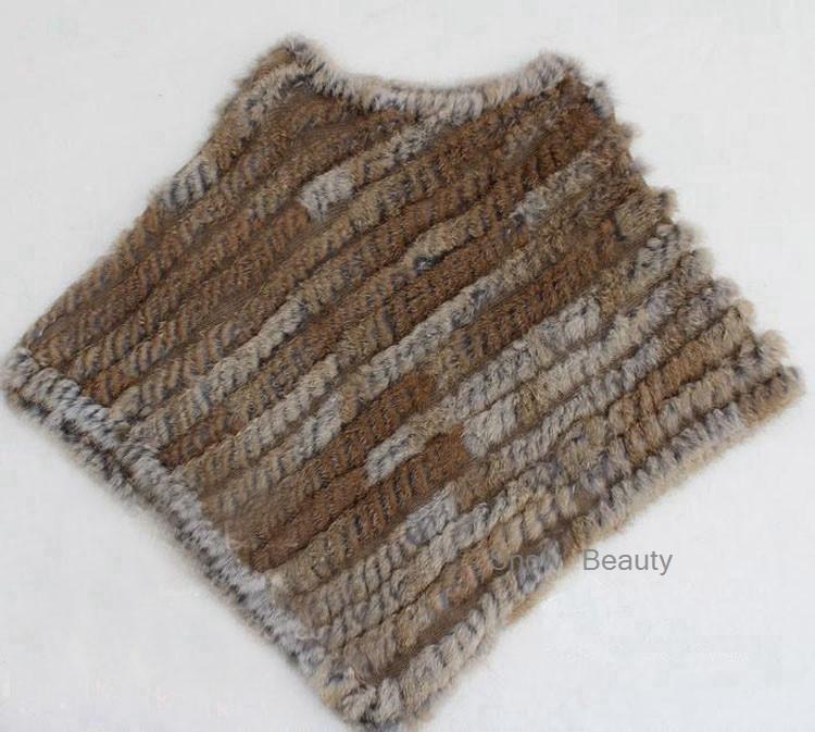 natural real knitted rabbit fur poncho shawl (9)