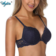 bd4837e2a Ayliss 1pc Dark Blue Women Push Up Floral Lace Padded Underwire Sexy Bra  Demi Plunge