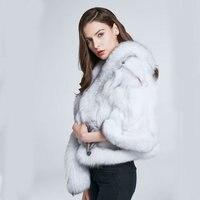 Natural leather grass coat fox fur vest female autumn and winter coat fur coat fox fur tail fashion design warm HTW P11