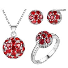 Rhodium plated set 925 Sterling Silver Earrings Necklace NEW crystal flower