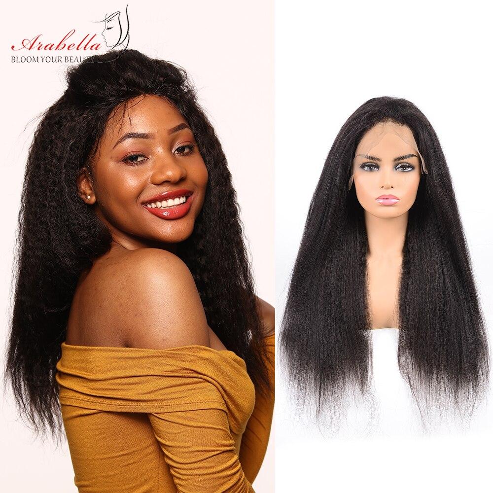 Italian Yaki Lace Wig Peruvian Kinky Straight 360 Lace Frontal Wig 180 Density Arabella Remy Lace