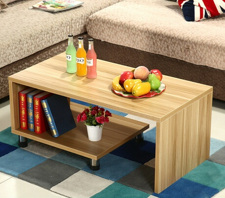 Coffee Table Living Room Furniture Home Solid Pine Wood Rectangle Double Layer 120