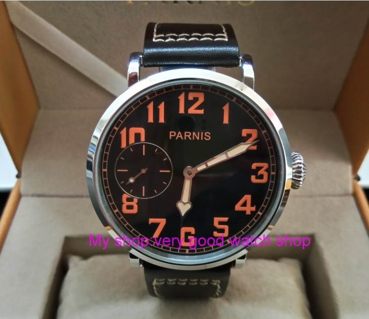 46mm parnis Black dial Asian 6497 17 jewels Mechanical Hand Wind movement men watch lumi ...