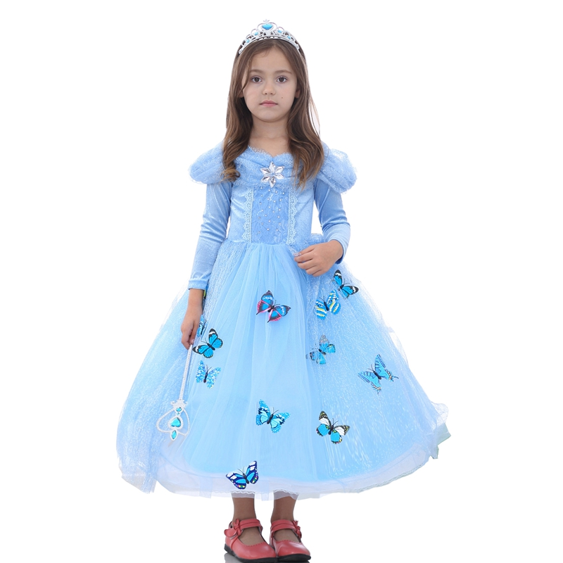 Flower Girls Dress 2017 New Princess Buterfly Party Dresses Birthday Christmas Clothes Halloween Costume For 3-10 Years GD51 1set professional 36w gel polish cur ing uv dryer lamp 12 colours nail art manicure tools brush kit for beauty nails