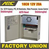 Vender Alta calidad CE FCC RoHS ininterrumpida 18 canales 12V 20A PTZ IR iluminador AccessControl para 18 canales DVR CCTV fuente de alimentación de la cámara