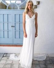 Simple Chiffon Beach Wedding Dresses Spaghetti Straps Backless Boho Bride Dress Deep V-neck Bridal Gown Cheap