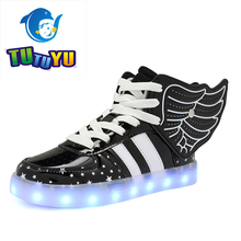 TUTUYU Glowing Sneakers Yeez Children LED Shoes USB Boys Girls Casual Shoes for Kids LED Light Up Wing Kids Shoes sply 350