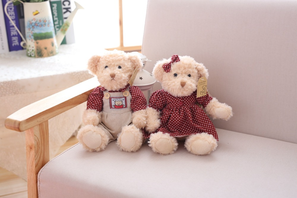 2 pcs/lot 26cm Lovely Couple Teddy Bear With Cloth Plush Toys Dolls Stuffed Toy Kids Baby Children Girl Birthday Christmas Gift