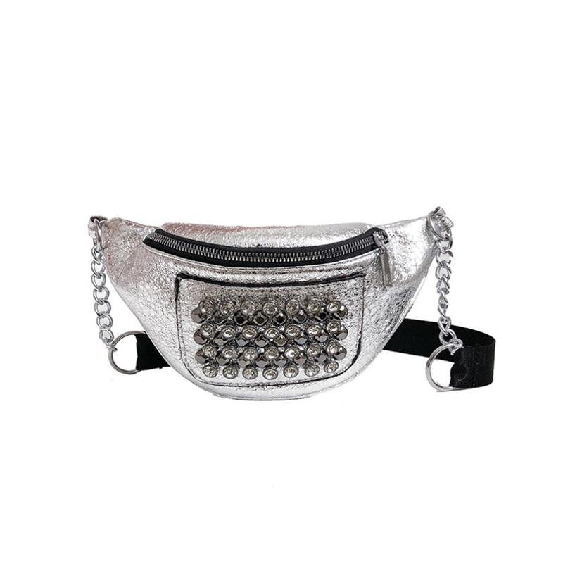 New Fashion Sequins Wild Womens Waist Bag With Rhinestone Lady Denim Crossbody Bag Casual Waist Pack Bags Chest Bag For Travel
