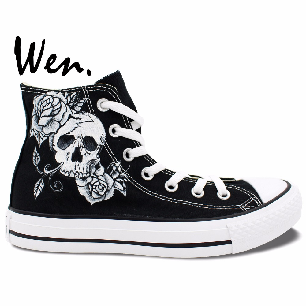 ФОТО Wen Hand Painted Shoes Unisex Black Casual Shoes Custom Design Tattoo Skull Roses Men Women's High Top Canvas Shoes Gifts