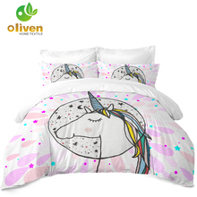 Sugar Unicorn Bedding Set Girls Cartoon Duvet Cover Cute Decor Soft Bedclothes Pillowcase Home D35