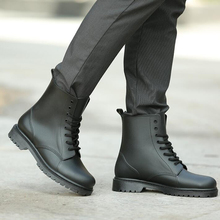 Tangnest NEW 2017 Men Ankle Boots Fashion British Style Lace Up Ankle Boots For Male Solid Black Platform Rubber Shoes XMX908