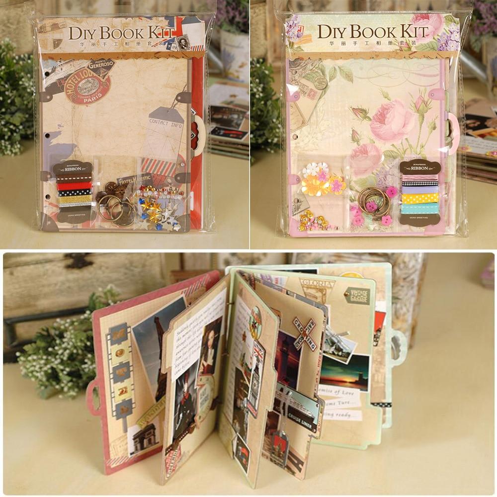 Scrapbook paper books - Eno Greeting Creative Chipboard Travel Love Scrapbook Album Kit For Beginner 3 Ring Binder
