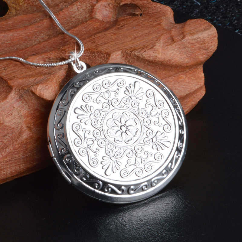 Earl Palace Elegant 925 Sterling Silver Chain Round Locket  Pendant Necklace Photo Collar Necklaces Valentine's Day Gift