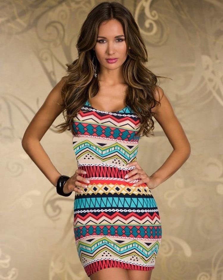 Sexy Women Casual Summer Printing color neck Maxi Beach clubwear Dress Vestidos Women Dress Elegant Slim Package Hip Dress