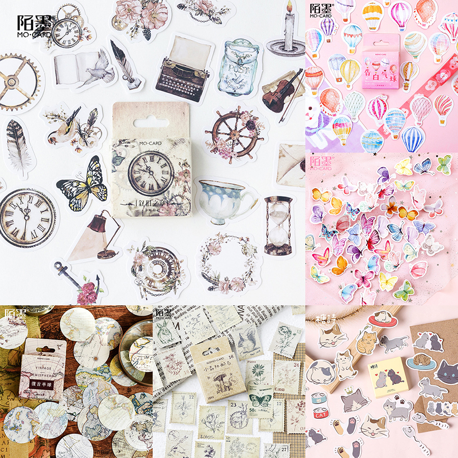 45pcs/box Stationery Stickers Retro DIY Planet Sticky Paper Kawaii Scrapbooking Stick Label Diary Album Bullet Journal Stickers