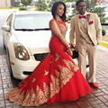 Gold Lace Appliques Sheer Mermaid Evening Dresses 2017 New Red Plus Size Long Prom Dresses Party Dubai Vestidos De Noche