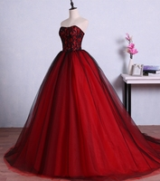 Red and Black Long Prom Dresses for Graduation Tulle Ball Gown Lace Formal Evening Gowns Dresses vestido de festa longo