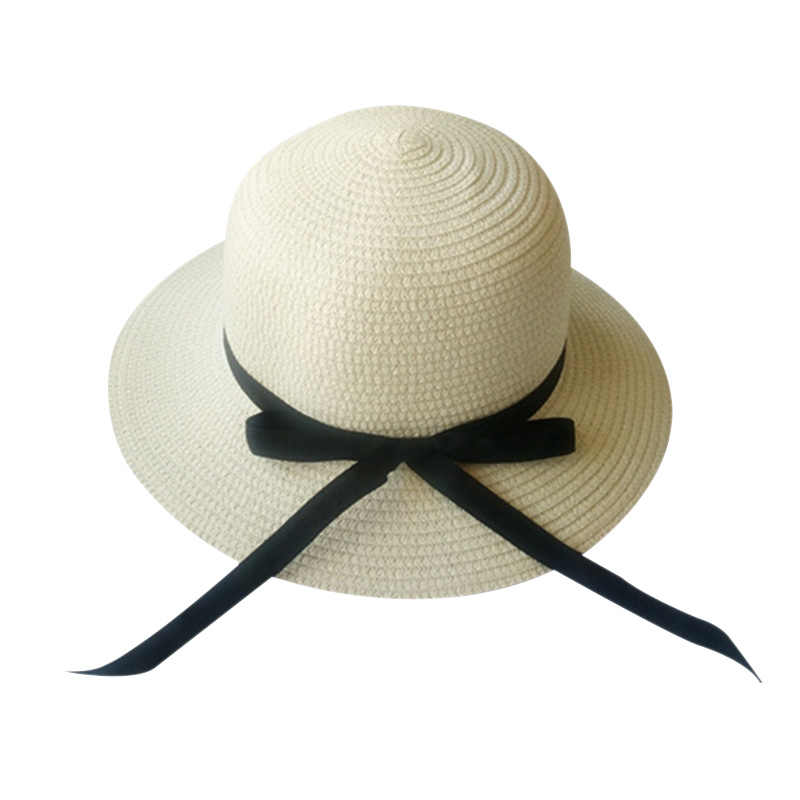 f04c52c16 Straw Hat For Women Summer Casual Wide Brim Sun Cap With Bow-knot ribbon  Ladies Vacation Beach Hats Big Visor Floppy Chapeau