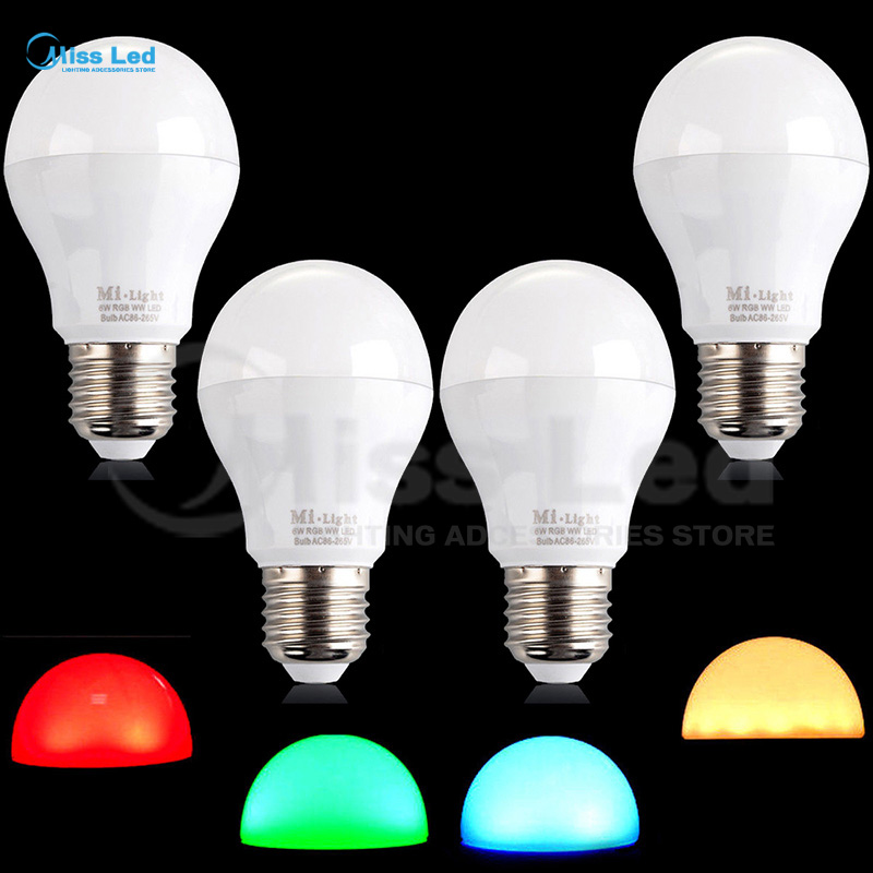 4 pcs RGB Warm/Cold White 2.4G wifi LED Bulb 6W E27 Wifi control via wireless RF Remote or Phone Smart bulb Adjustable Dimmable wifi led bulb 7 5w rgb white dimmablelamp smart home for ios