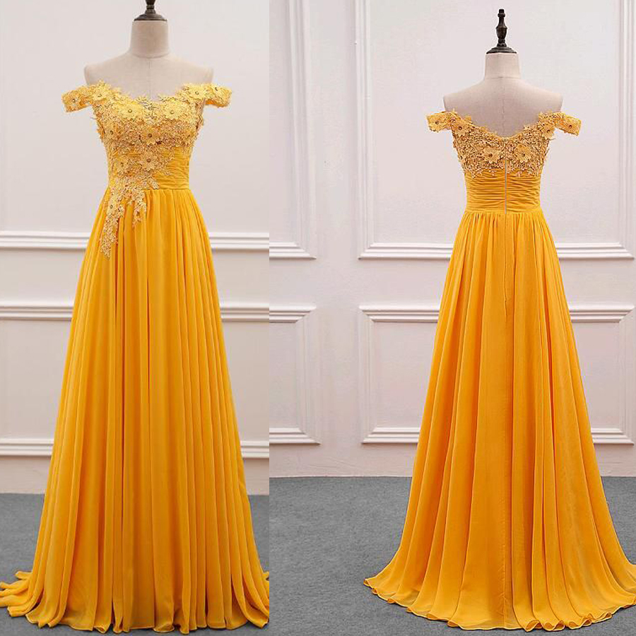 Fascinating Off-the-shoulder A-Line   Prom     Dress   with Crystal Beaded Lace Appliques Yellow Formal Evening   Dress   Bridal Party   Dress