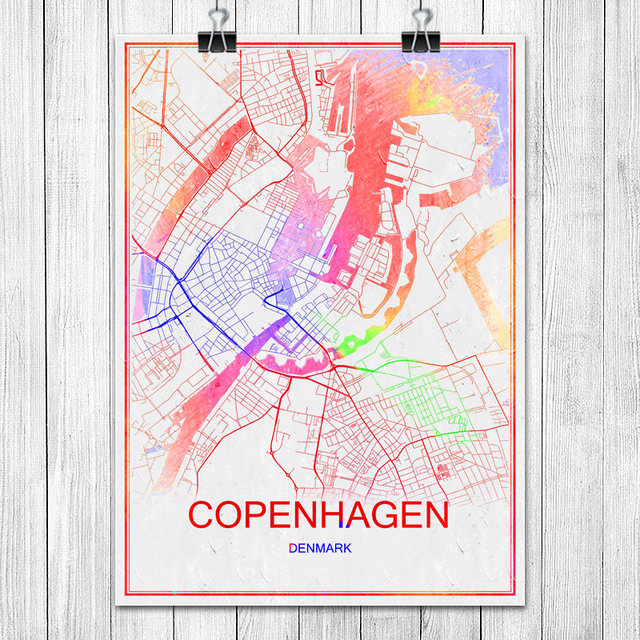 copenhagen denmark colorful world city map print poster abstract coated paper bar pub living room home