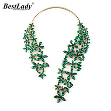 Best lady 2016 New Colorful Fashion Flower Crystal and Acrylic Gem Maxi Statement Choker Colorful Collar Choker Necklace 2521