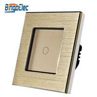 1gang 1way Touch Button Switch Golden Aluminum And Glass Panel Light Switch EU UK Standard AC110