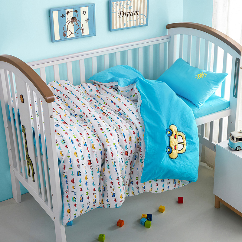 Svetanya Cotton Crib Bedding Set Car embroidery (Quilt cover120xx150cm+ Sheet60x135cm+ Pillowcase30x50cm) 3pc Bedlinen Sets