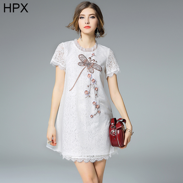 Women White Organza And Lace Dragonfly Embroidery Beaded Casual Fashion Dress 2016 Summer New Las High