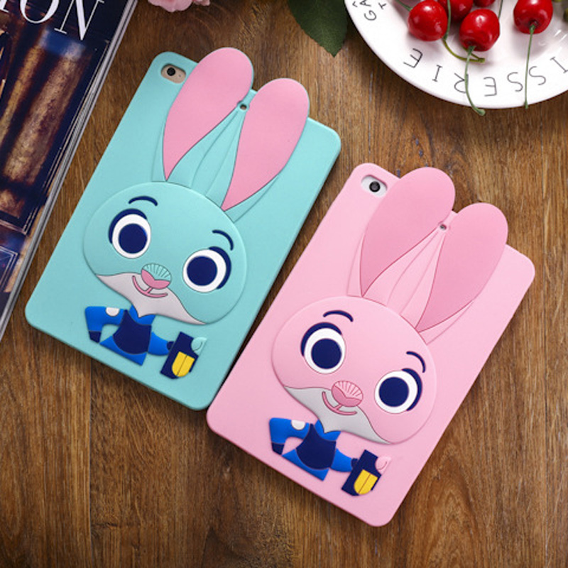 Tablet Case For ipad 2017 9.7 inch Cute Cartoon Rabbit Kids Shockproof Silicone Rubber Stand Back Cover For ipad 2018 Case  (2)