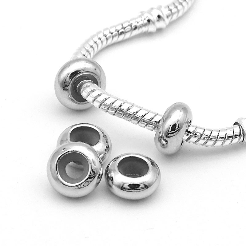 Free Shipping 10pcs/lot Stopper Clip Beads Charms with Rubber inside fit European Pandora Bracelets necklaces For Jewelry Making(China)