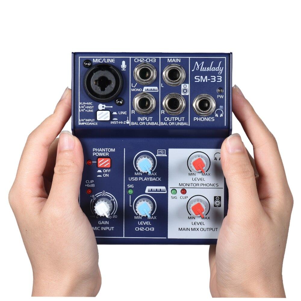 サウンドカードミキシングコンソールデジタルオーディオミキサーのサポート 5 ボルト電源銀行 USB 電源内蔵 48 ボルトファンタム電源記録のための DJ  グループ上の スポーツ & エンターテイメント からの 電子楽器パーツ & アクセサリー の中 1