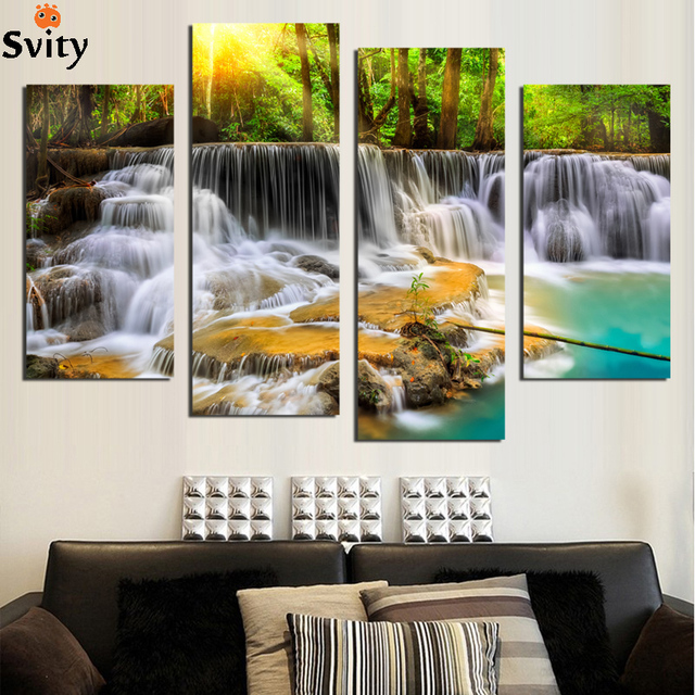 4 стеновые панели картинки для гостиной искусства водопад холст Картина модульная картина плакаты и печать Куадрос картины F1867
