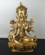 rare luck Tibetan Buddhism Copper Green Tara God Godness Kwan-yin Buddha Statue gift art bronze Genuine copper