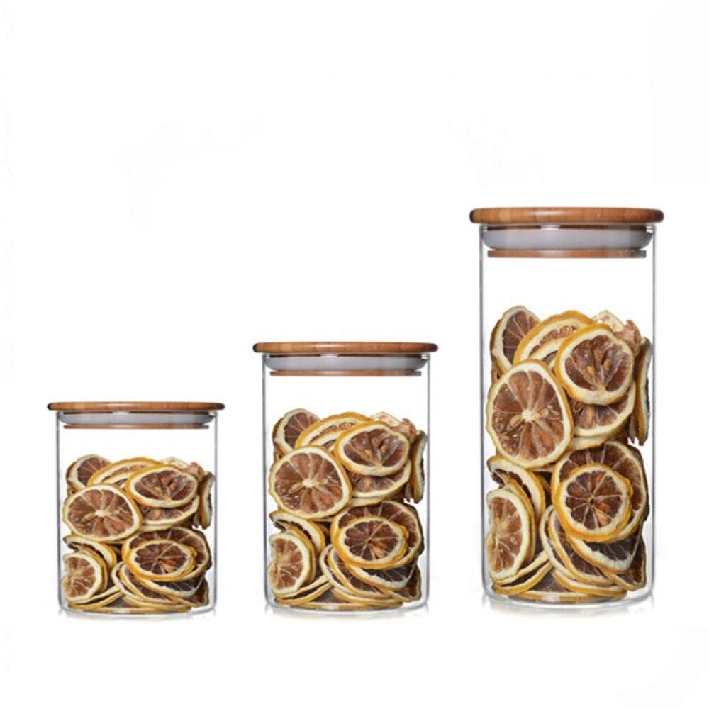 PINDEFANG Čiré sklo, vzduchotěsné skladování čaje s bambusovým víkem Kuchyňské pokrmy Ořechy Sklenice Vzorkovací zboží Zobrazeno Dekorace domácnosti