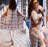 Perfect shopping outfit Hot sale winter hamburg design real Fox Fur Vest for Women X long Female Fur Gilet Waistcoat