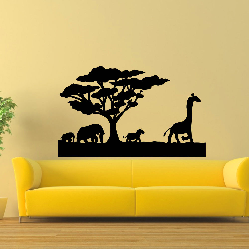 Südafrika Tier Wandtattoo Wilde Tiere Elefanten Pferd Baum Giraffe Lanscape PVC Wandaufkleber...