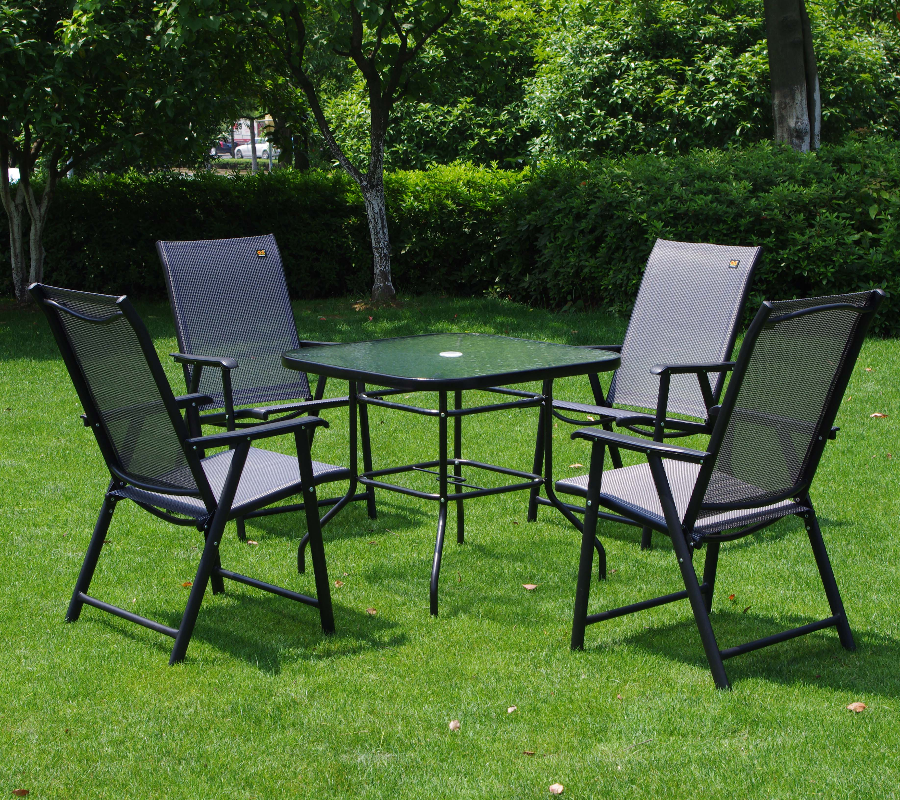 Wrought Iron Balcony Outdoor Furniture Patio Umbrella Tables And Chairs Leisure Folding Thick Waterproof Sun In From On
