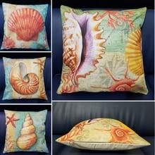 Yellow Starfish Nordic Cushion Cover Print Throw Pillow Cover 45x45cm Cotton Linen Cushion Case Sofa Bed Decorative Pillow недорого