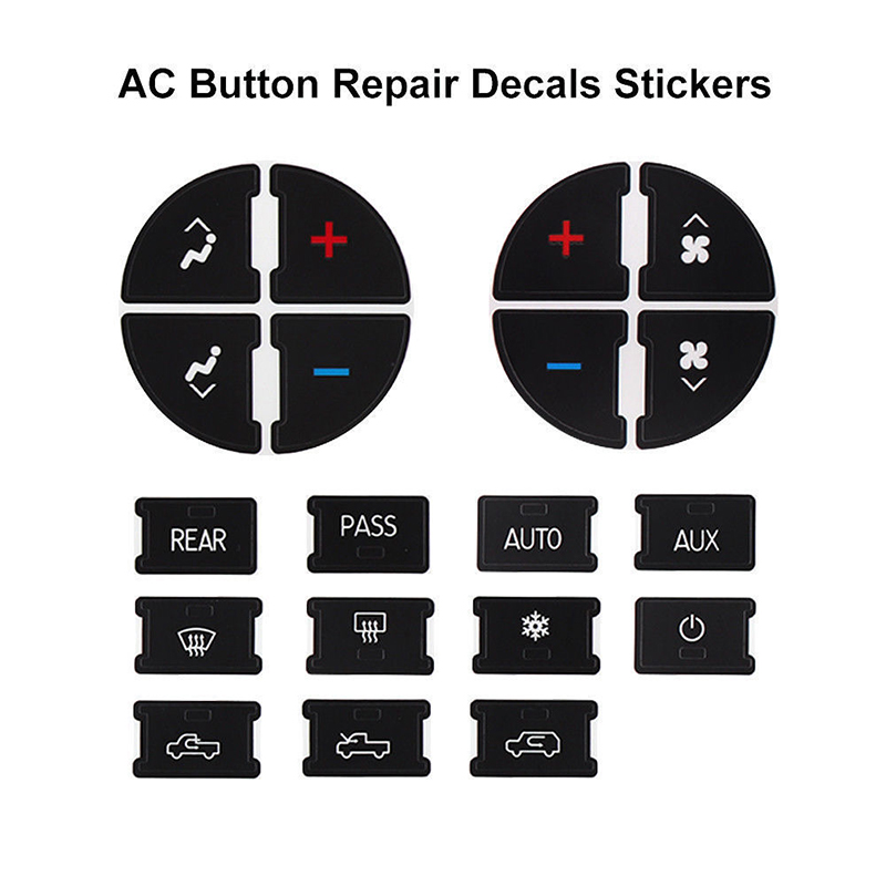2 Set AC Button Repair Kit Replacement Button Stickers for 2007-2013 Chevy GMC