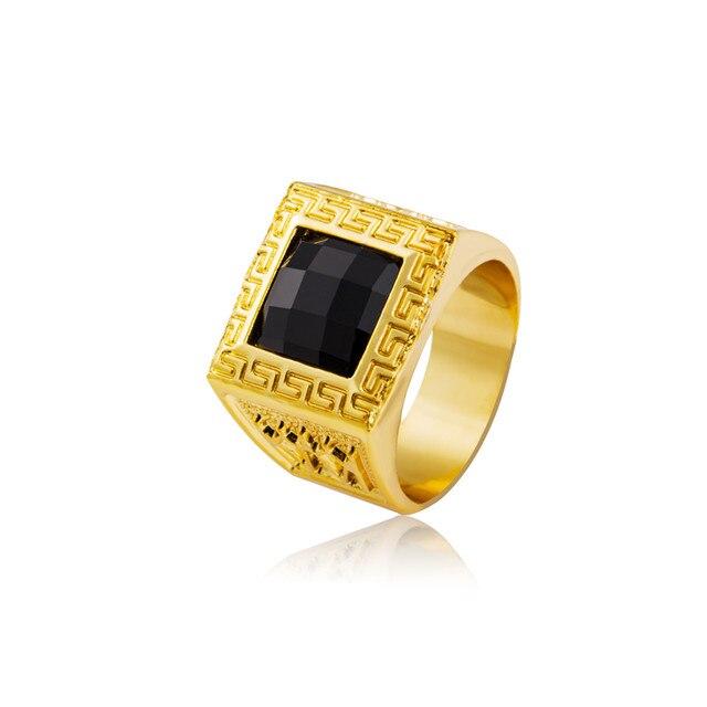 line Shop NYUK Gold Rings Bling Crystal Gem Ring Men Gift Hip