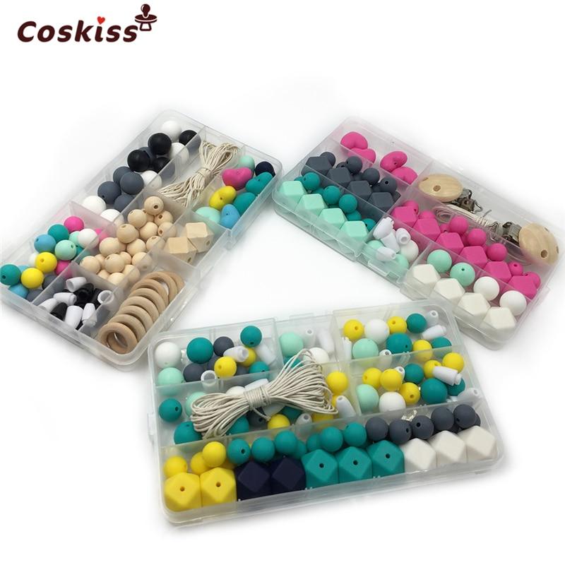 4Pcs Baby Teether Kits Hexagon Round Silicone Bead Wooden Bead Crochet Bead DIY