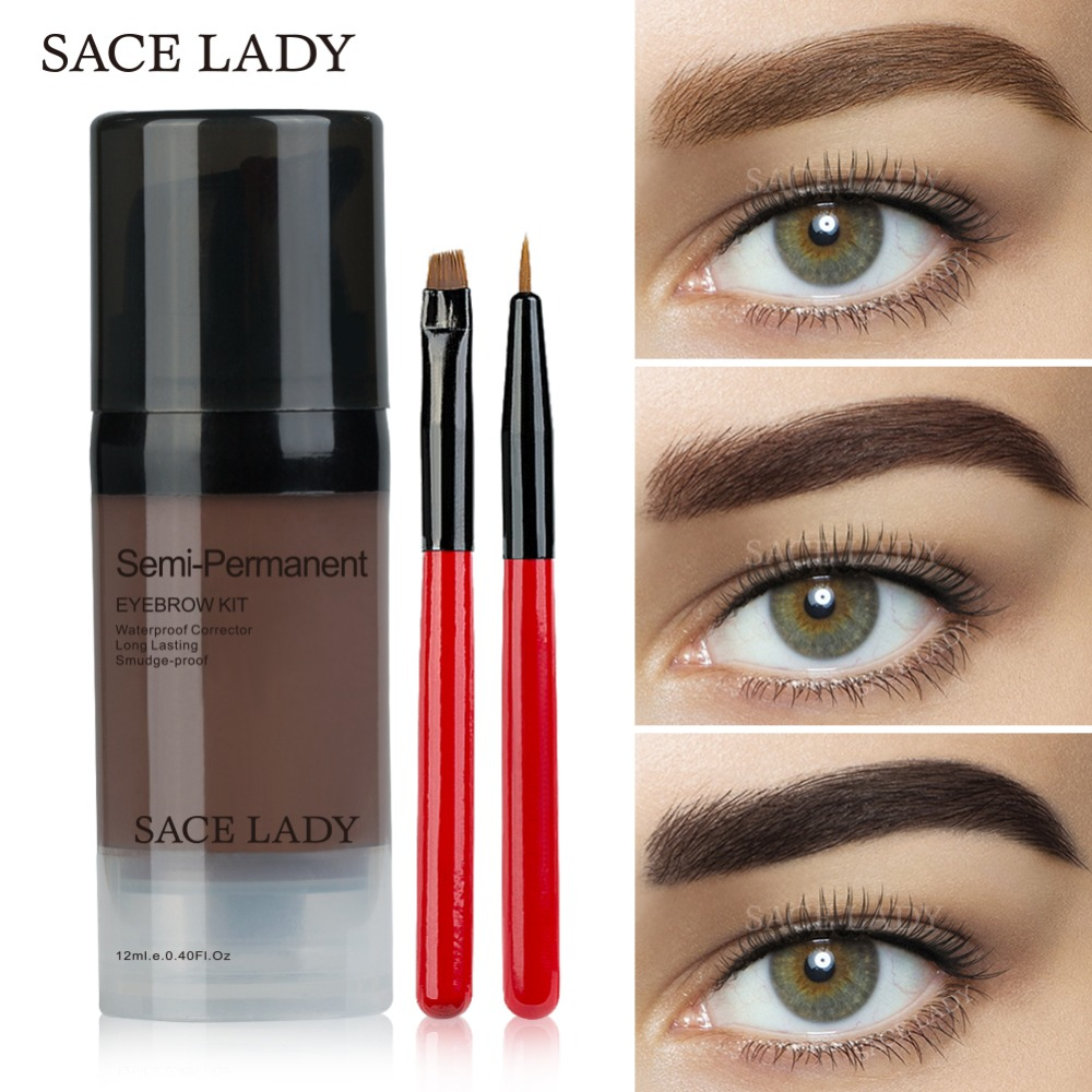 SACE LADY Eye Brow Dye Paint Waterproof Gel Make Up Pomade Brush Set Black Eyebrow Stamp Enhancer Pencil Kit Wax Cosmetic
