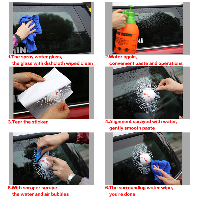Image 5 - NS Modify Car Styling Baseball Football Tennis Stereo Broken Glass 3D Sticker Car Window Ball Hits Self Adhesive Funny Decal-in Car Stickers from Automobiles & Motorcycles