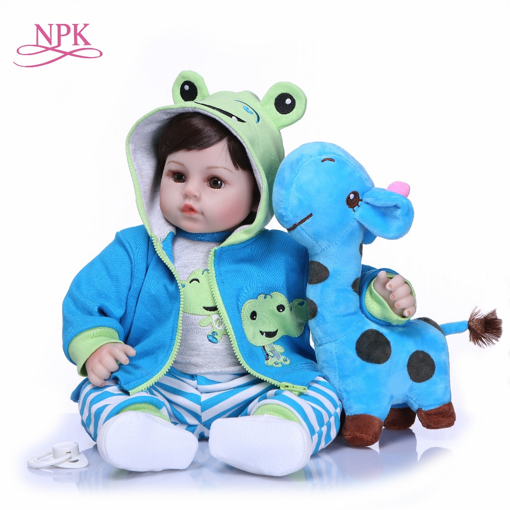 NPK 47CM Newborn Reborn Baby Dolls Silicone Soft Cloth Body toddler Doll For Girls Princess Kid