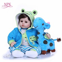 NPK 47 cm Neugeborenen Reborn Baby Puppen Silikon Weichen Tuch Körper kleinkind Puppe Für Mädchen Prinzessin Kind Mode Bebes Reborn puppen